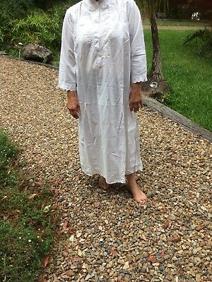 Antique Collectors Nightgown Pure Cotton Lace White Lawn Long Sleeves Hand Made