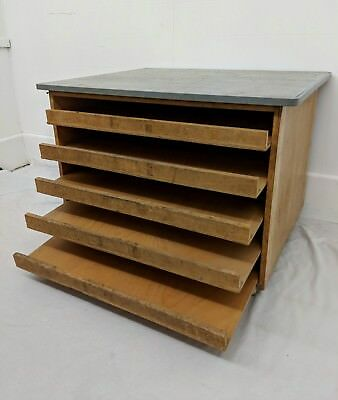 Industrial Artist School Style Wooden Plan Chest * One of 3
