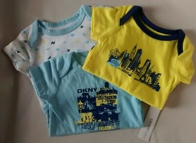 DKNY Baby all in ones short sleeve 3 pack new 0-3 months