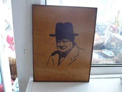 Treen Inlaid Wall Plaque Of Churchill