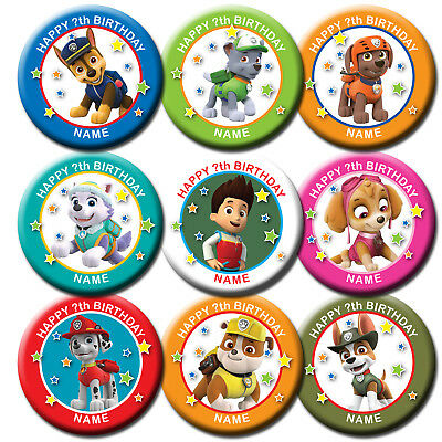 PERSONALISED PAW PATROL BIRTHDAY BADGE , MAGNET, MIRROR 58MM or 77MM