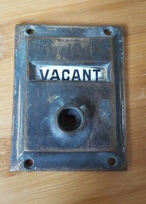 UNRESTORED BRASS ORIGINAL BATHROOM VACANT ENGAGED Door lock Sign LAVATORY Toilet