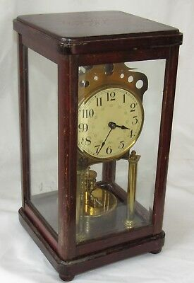 Rare And Early Wooden 400 Day, Torsion, Anniversary Four Glass Clock