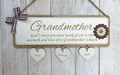 Engraved Personalised Gift Sign Birthday Gift for Grandmother Warmth Heart Gift