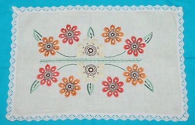 Large Vintage Embroidered Floral Doily