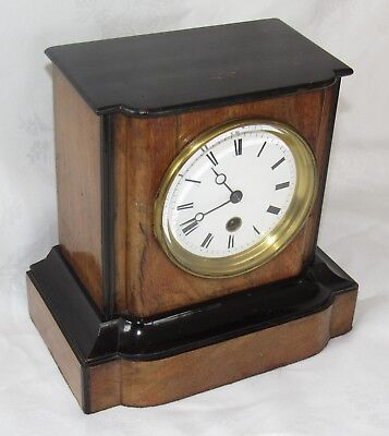 Nice French Japy Freres Walnut Cased Mantle Clock Timepiece