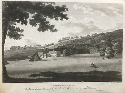 1791 Antique Print; Crowcombe Court, Somerset after Thomas Bonnor
