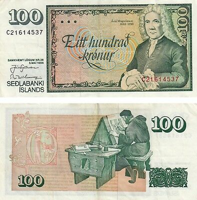 Iceland 100 Kronur Currency Banknote 1986 Fine+ Magnusson!! Free Shipping!!