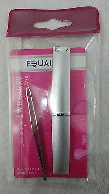 Precision Tweezers! Equaline Slant Tip! Stainless steel with case! NICE ITEM!