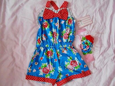 PERSNICKETY Bushel and a Peck Chloe Jumper Romper Girls Size 6 NEW Blue Floral