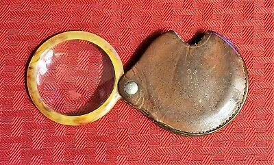Vintage Mid-Century Folding Magnifying Glass Loop w/Turtle Shell Frame !!