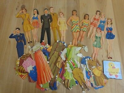 Vintage 1940s Paper Dolls Lot 98 Pieces Military War Clothing 12 People Boy Girl