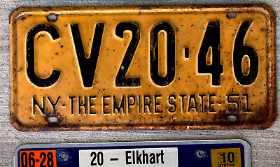 "1951 Black on Orange New York License Plate ""The Empire State"""