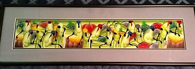 """Vintage Signed Haitian Market Painting Oil On Canvas~Fine Frame~35.5"""" x 11.25"""""""