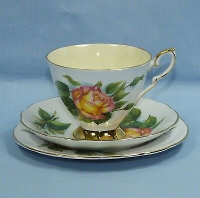 Paragon 6 World Famous Roses Bone China Tea Cup Saucer & Plate Trio Peace