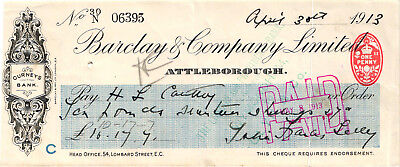 A neat 1913 Barclay & Company Limited Check - Gurneys Bank - England - Used