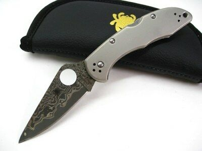 Spyderco Titanium Handle Delica 4 Straight Vg-10 Damascus Folding Knife C11TIPD
