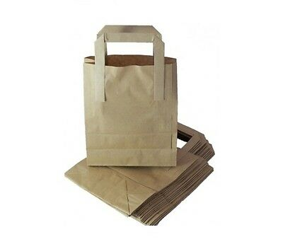 100 x HIGH QUALITY SMALL BROWN KRAFT PAPER SOS BLOCK BOTTOM CARRIER BAGS