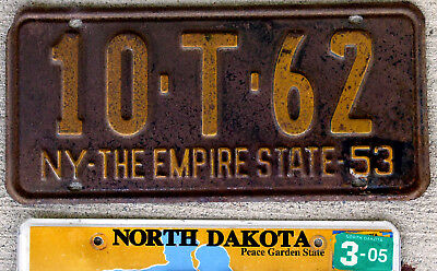 "1953 Orange on Black New York License Plate ""The Empire State"""