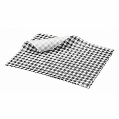 50 x Sheets BLACK Gingham Duplex Paper Food Wrap Greaseproof Chip Basket Liner