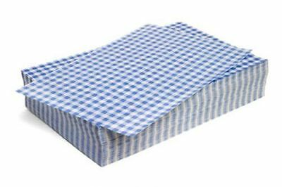 500 x Sheets BLUE Gingham Duplex Paper Food Wrap Greaseproof Chip Basket Liners