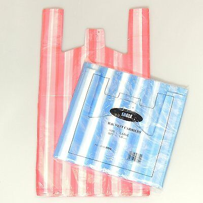 "100 x NEW LARGE CANDY STRIPE Plastic Vest Carrier Bags 11""x17""x21"" on SALE"