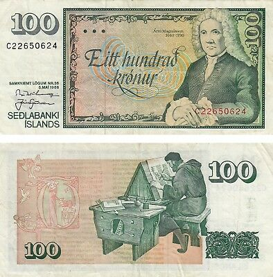 100 Kronur Currency Iceland Banknote 1986 Fine+ Magnusson!! Free Shipping!!