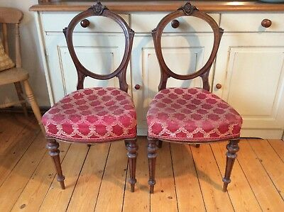780 - Pair Victorian Mahogany Balloon Back Chairs with upholstered seat