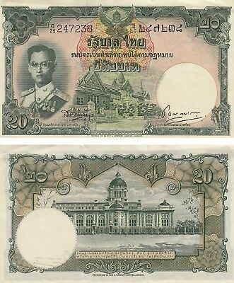 THAILAND 20 BAHT CURRENCY BANKNOTE 1953 VERY FINE !! Free Shipping!!