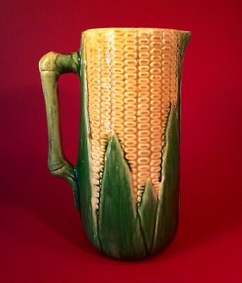 "Early Vintage Brush McCoy Large 11"" Corn Ware Pitcher 1910-1925"
