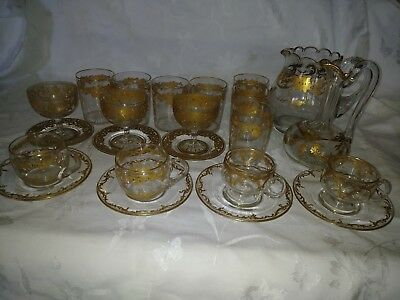 Antique Lot Of Moser Hand Painted Scrolls Pitcher, Stems,cruit.cups & Saucers