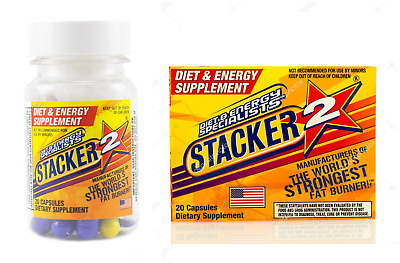 6x Bottles Stacker 2 Ephedra Free  - 20 Capsules - Energy Weight Loss Fat Burn