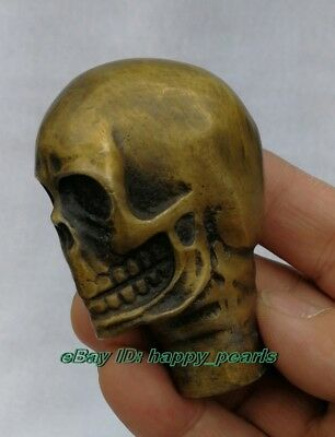 Antique Victorian Bronze Hand Carved skull Statue Cane Head Walking Stick Head