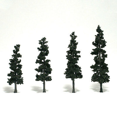 """Woodland Scenics N, HO, or O Conifer Green Pine Trees 4-6"""" 4 Pack # TR1561 F/S"""