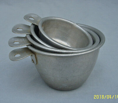 Vtg 4 Piece Set Aluminum Nesting Measuring Cups Tab Handles Country Farmhouse