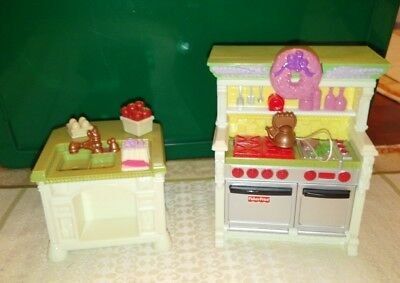 Fisher Price Loving Family Dollhouse Kitchen Stove W Sound Island Sink