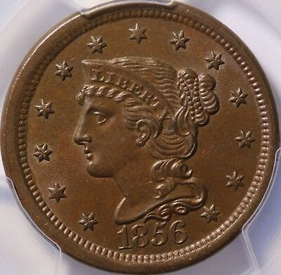 1856 Braided Hair Cent Slanted 5 PCGS MS62BN