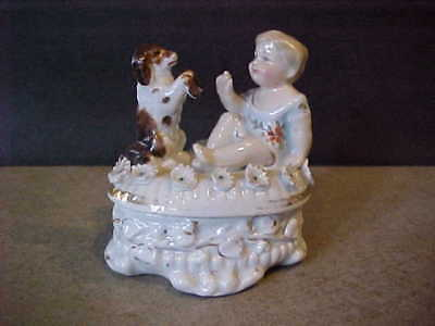 antique STAFFORDSHIRE FAIRING TRINKET BOX - GIRL with SITTING UP DOG - GERMANY?