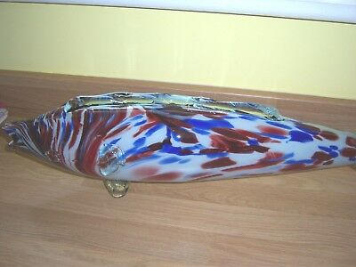 Vintage Large Murano Hand Blown Glass Fish  With Glass Stands Multi Colours