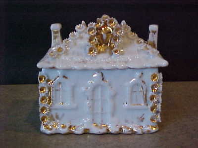antique STAFFORDSHIRE FAIRING TRINKET BOX - gold decorated HOUSE w/chimneys