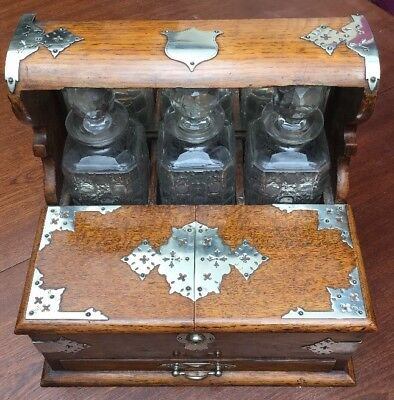 Antique Daniel & Arter Oak Tantalus With Cut Glass Decanters Perfect For Gin!