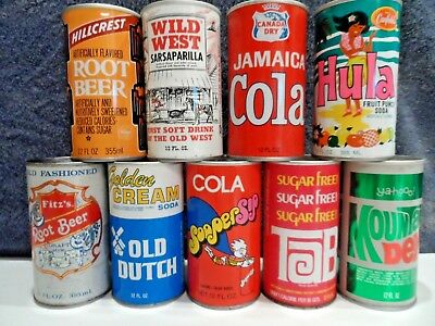 Lot Of Nine Hard To Find Pull Tab Soda Cans