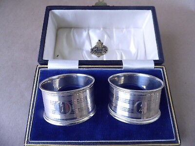Chester Excellent Set Of 3 Antique Sterling Silver Napkin Rings 1916