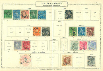 British Colonies - BARBADOS 1852-82 Collection of classics on old MAURY page