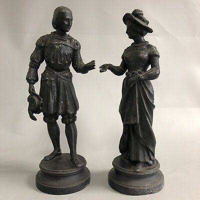 Pair of vintage spelter man lady figures/statues a couple in 17th Century Dress