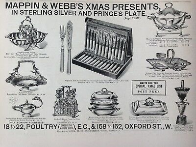 Mappin & Webb's, Royal Plate And Cutlery Works, Antique Print 1892, Original