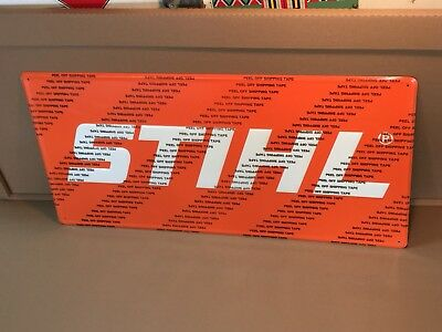 Brand New Stihl Tool Chain Saw Sign Embossed Metal Hardware Advertising