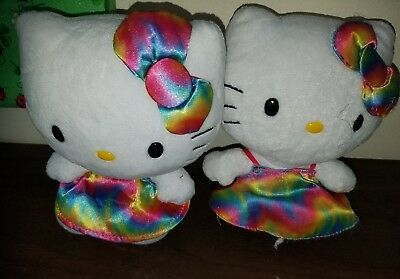 2013 TY Hello Kitty Lot of 2 Tye Dye Plush 6""