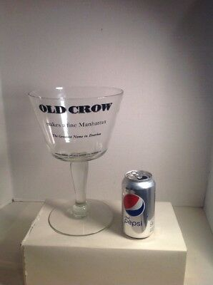 Vintage Display Bar Glass Old Crow Bourbon Whiskey Large 11 Inches Tall
