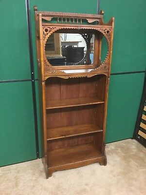 Antique Mahogany Mirror Back Bookcase With Fretwork Detailing